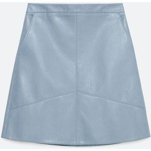 Zara A-LINE SKIRT - S Light blue